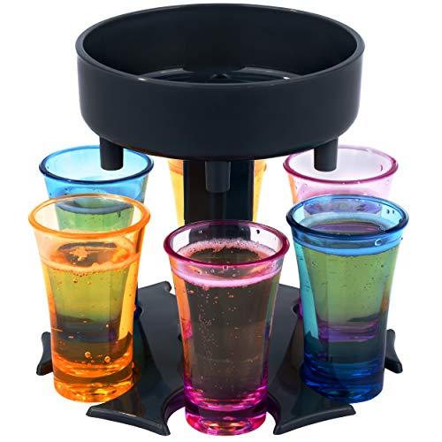 6ix Shotter Dispensador y soporte de seis vasos de chupito | Rellena uniformemente 6 vasos de chupito | Juegos de beber | Incluye 6 vasos de colores | Cócteles