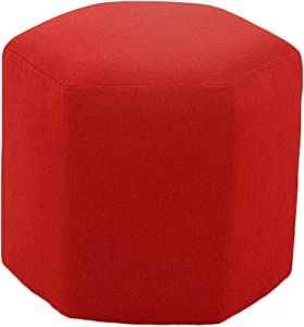 LIXIONG Outdoor Ottomans Footstools Household Solid Color Cotton and Linen European Style Hexagon Cloth Makeup Stool, 5 Colors (Color : Red, Size : 40x40x40cm)