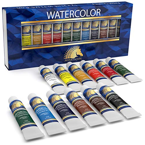 Watercolor Paint Set - Artist Quality Paints - 12 x 21ml Vibrant Colors - Rich Pigments - Professional Supplies by MyArtscape™