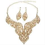 HMANE Bohemio Grande Hoja Hueca Cristal Colgante Collar Pendientes Conjunto de Joyas Cadena de Oro Mujeres Boda Nupcial joyería de Diamantes de imitación