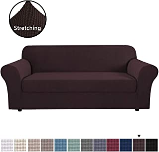 H.VERSAILTEX 2-Pieces Machine Washable Jacquard Polyester Spandex Sofa Slipcover Furniture Cover/Protector for 4 Seater Sofa, Skid Resistance (X-Large, Brown)