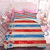 Hiiiman Juego de cama de edredón 3 piezas de estrellas y rayas abstractas diseño patriótico con aspecto grunge (3 piezas, tamaño doble) sin inserción