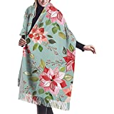 Ibd Poinsettia Berry X Chal Wrap Winter Warm Scarf Cape Cape Large Soft Cozy Cashmere Scarf Wrap Womans Warm Shawl Stole