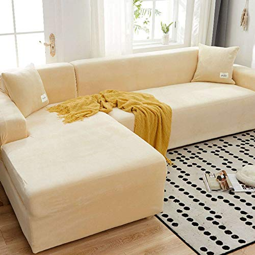 HKPLDE Stretch Sofa Slipcover 2 Pieces L-Shaped Sofa Cover Sectional Couch Covers Furniture Protector Stretch Couch Slip Cover with Elastic Bottom-1 Seater 90-140cm-L