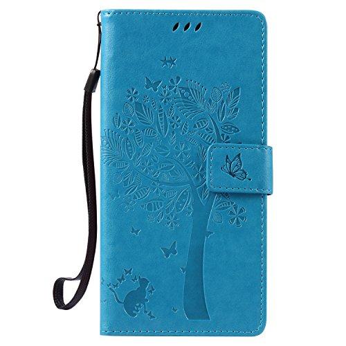 NEXCURIO Huawei/Google Nexus 6P Hülle Leder, Handyhülle Tasche Leder Flip Case Brieftasche Etui mit Kartenfach Stoßfest Kratzfest Schutzhülle für Huawei Nexus 6P - EKTU102603 Blau