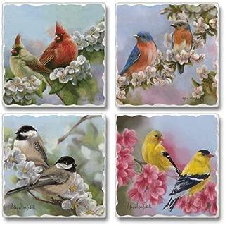 Spring Quartet Birds Highland Graphics Tumbled Tile Coasters set of 4