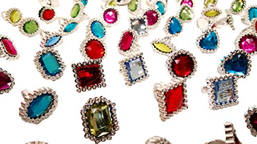 'Dondor' Rhinestone Jeweled Rings for Children (72 Piece Party Pack!)