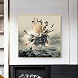 Barco pirata Animal Art Canvas Painting Modern Wall Art Decoración Wall Poster Print Living Room Wall Picture 50x50cm Sin marco
