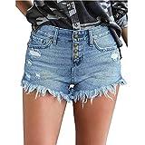 MANDILOL Pantalones cortos casuales de verano para mujer con dobladillo deshilachado, jeans rasgados, cintura delgada, pantalones vaqueros de cintura alta, cómodos y elásticos con bolsillos S-XXL