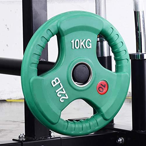 FOTGL Barra de Goma con Mancuernas de Peso Placas 3 Agujeros Pesas Pesas de Disco for Home Fitness Gym Pesas 10 kg / 15 kg / 20 kg / 25 KG (tamaño : 25kg)