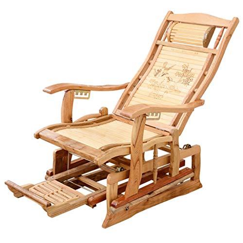 Chaise Zero Gravity en bambou Chaise longue pliante Chaise longue de terrasse inclinable et réglable en hauteur avec repose-pieds massable