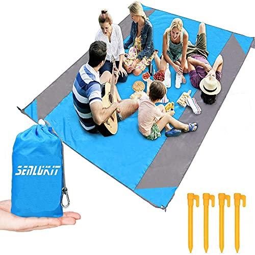 SenLuKit Stranddecke Picknickdecke Strandmatte, 210 x 200 cm, Wasserdicht, Sanddicht, Wasserabweisend, mit 4 Festen Nägeln, Verstärkte Einfassung für Strand, Camping, Wandern und Gras