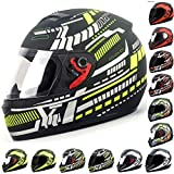 Wwtoukui Casco De Moto Adulto,Hombres Y Mujeres Jóvenes Off-Road Locomotora Mountain Bike Racing Kart Frontal Flip Lens Full Face Casco,Certificación Dot/ECE,C,M