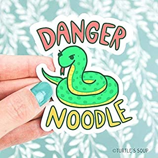 Serpent Art, Snake Vinyl Sticker, Danger Noodle, Funny Pun, Cute Green Snake, Snake Decal, Snake Art, Snake Illustration, Laptop Decal, Cars