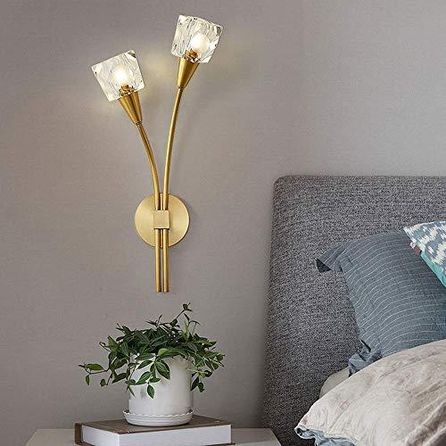 YANQING Duurzame Bloeiende Planten Stijl Kristallen Wandlamp LED Warm Licht Gouden Minimalistische Persoonlijkheid Creatieve Zittende Woonkamer Hallway Slaapkamer Bedkant 26 * 58cm