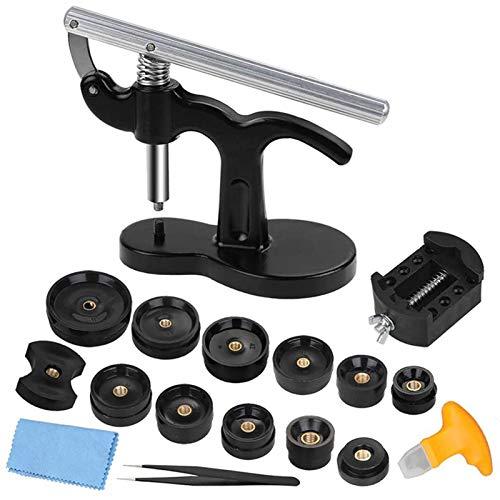 QPLKL Mechanischer Watch-Tester 17 STÜCKE Uhrenhülle Presse, Uhrwerkzeug zum Schließen von Uhr zurück Tabelle 12 Formgrößen Reparatur-Kits ansehen (Color : Black)