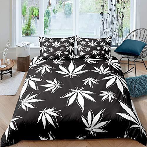 Homewish Cannabis Leaf Funda de edredón de 135 x 200 cm, diseño de hoja de marihuana, color blanco y negro