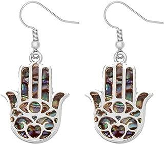 MANZHEN Good Luck Protection Abalone Paua Shell Hamsa Hand Dangle Earrings
