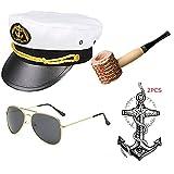 Yacht Captain & Sailor Costume Accessories Set - Hat,Corn Cob Pipe,Aviator Sunglasses,Vintage Anchor Temporary Tattoo (OneSize, C3)