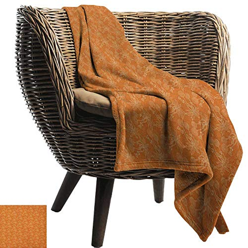 """warmfamily Super Soft Blankets Burnt Orange Dandelions Poppies and Wildflowers Silhouettes Romantic Garden Art Sofa Chair 30"""" Wx50 L"""