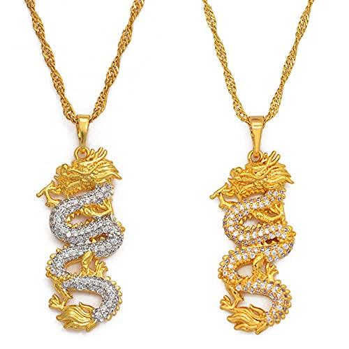 Collares Collares colgantes de dragón chino para mujeres, niñas, joyas, color dorado, circonita cúbica, adornos de mascota, símbolo de la suerte, todo gold_60cm Cadena delgada