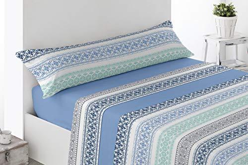 BENEDETTAHOME Juego de sábanas Estampadas coralina Invierno, 100% poliéster, con Tacto Suave y Agradable. Modelo Galera, Azul. Juego de 3 Piezas para Cama de 135.