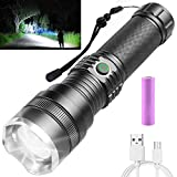 Rechargeable LED Flashlight, 10000 Lumen Super Bright Tactical Flashlights, 4 Modes Zoomable Flashlights with High Power Battery & USB Charging, Waterproof Flashlight for Camping Hiking, Emergencies