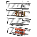 GSlife Under Shelf Basket, 4 Packs Under Shelf Wire Basket Stable Under Cabinet Basket Wire Storage Basket for Kitchen Office Pantry Bathroom, Black