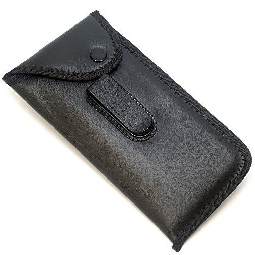 Mens Slip-in Soft Eyeglass Case w/Belt Clip & Flap in Black