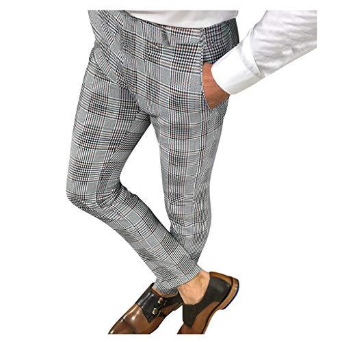 Ansenesna Herren Hose Business Slim Fit Kariert Vintage Arbeitshose Männer Lang Anzug Hosen (Grau,L)