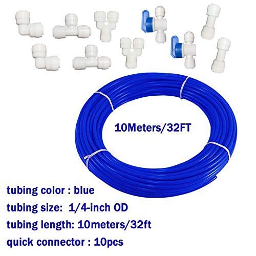 Malida 1/4 inch RO Water blue Tubing, Hose Pipe for RO Water purifiers System,+quick connector 10pcs. (tubing 10meters)