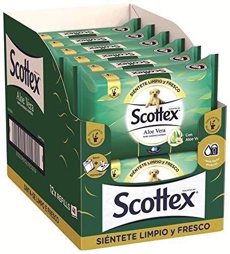 Scottex Sensitive Aloe Vera Papel Higiénico Húmedo - 12 Paquetes de 40 Unidades