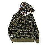 Shark Jaw Camo Full Zipper Hoodie Hombre Mujer Sweats Coat Jacket Thicken, el Regalo más esperado para Hombres y Mujeres-Verde_Metro