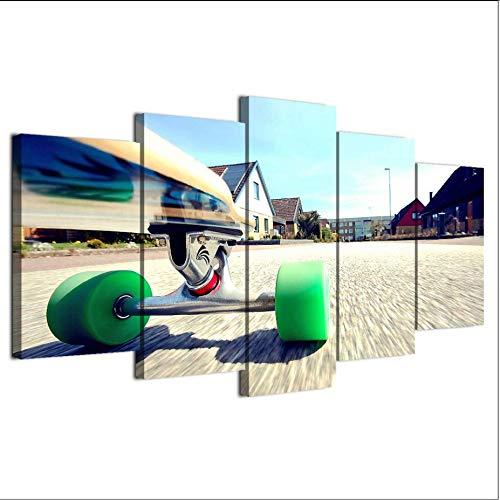 Zybnb 2019 Hot Sale Nieuwe Moderne Skateboard Jeugd Hd Canvas Art Prints Muurdecoratie Foto's 5 Stuk Schilderij voor Woonkamer Decor
