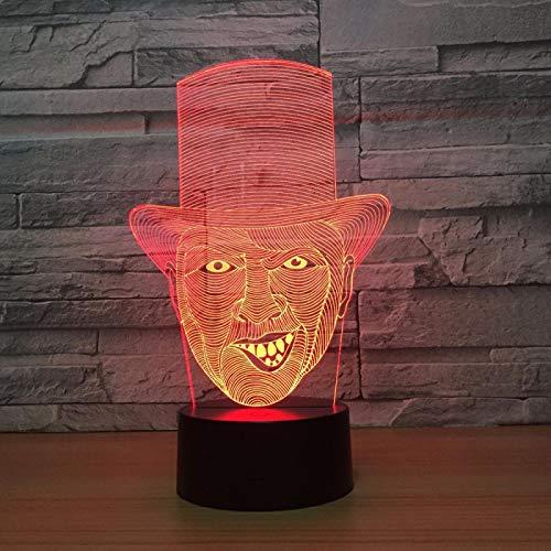 Luz De Noche Led De Ilusión 3D, Lámpara De Mesilla Para Niños Payaso Mágico Malvado 16 Colores Interruptor Táctil Cambiante Gradual Lámpara De Mesa Usb Para Regalos Perfectos Cumpleaños