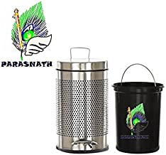Parasnath Stainless Steel Perforated Pedal Dustbin, Perforated Pedal Garbage Bin with Plastic Bucket(10''x15''-11 Ltre)