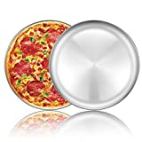 Pizza Baking Pan Pizza Tray - Deedro 12 inch Stainless Steel Pizza Pan Round Pizza Baking Sheet Oven Tray, Nonstick & Healthy Bakeware for Oven Baking, 2 Pack