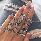 Yean - Set di anelli in argento con cristalli boho, per donne e ragazze, 15 pezzi