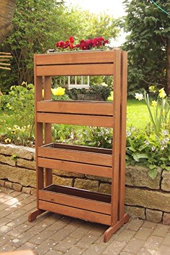 Soporte vertical madera plantas 4 maceteros plástico