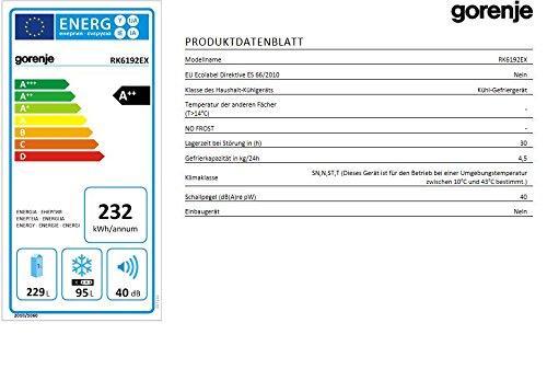 Gorenje RK 6192 EX Kühl-Gefrier-Kombination / A++ / Höhe 185 cm / Kühlen 229 L / Gefrieren 95 L / LED Beleuchtung / Edelstahl / Anti-Fingerprint-Beschichtung