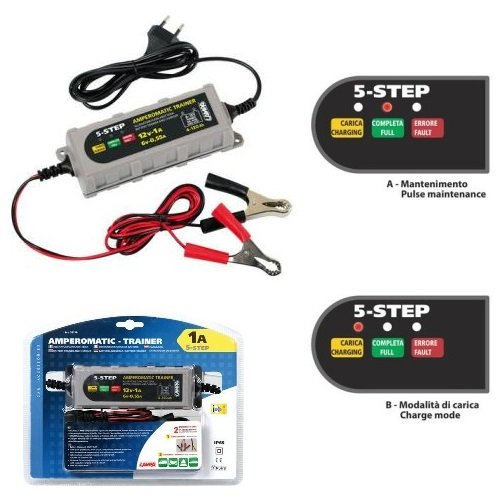 COMPATIBLE WITH DERBI X-RACE R 50 BATTERY CHARGER FOR MOTORCYCLE SCOOTER QUAD BOATS CAMPER LAMPA 70178 CURRENT MAINTAINER 6/12V-0,55/1A UNIVERSAL FOR LEAD,SM,GEL,AGM BATTERIES