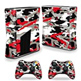 xbox 360 skins for console camo - MightySkins Skin Compatible with X-Box 360 Xbox 360 S Console - Red Camo | Protective, Durable, and Unique Vinyl Decal wrap Cover | Easy to Apply, Remove, and Change Styles | Made in The USA