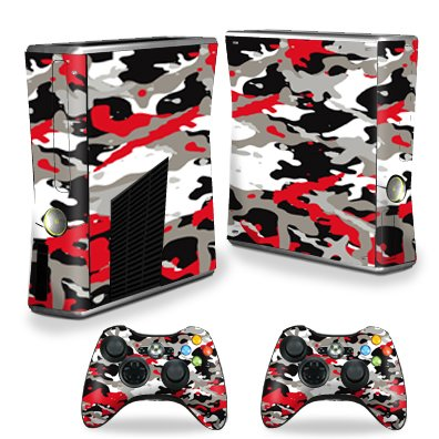 MightySkins Skin Compatible with X-Box 360 Xbox 360 S Console - Red Camo   Protective, Durable, and Unique Vinyl Decal wrap Cover   Easy to Apply, Remove, and Change Styles   Made in The USA