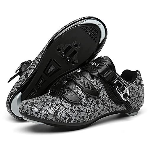 DSMGLRBGZ Zapatilla de Ciclismo, (36-47) con Hebilla de Zapato, Respirable Suela de Goma Luminiscente, Zapatillas de Hombre Mujer de Bicicleta de Carretera,Luminous,47