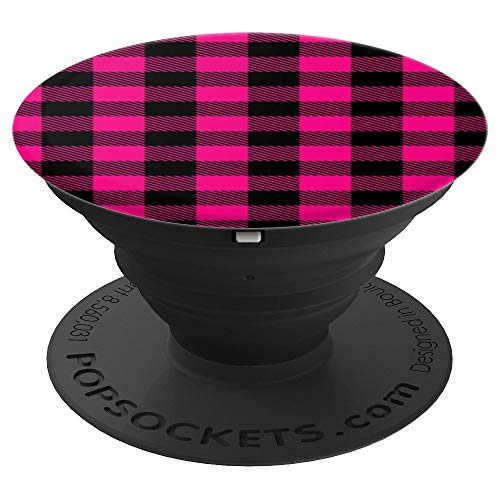 Hot Pink Plaid PopSockets Grip and Stand for Phones and Tablets