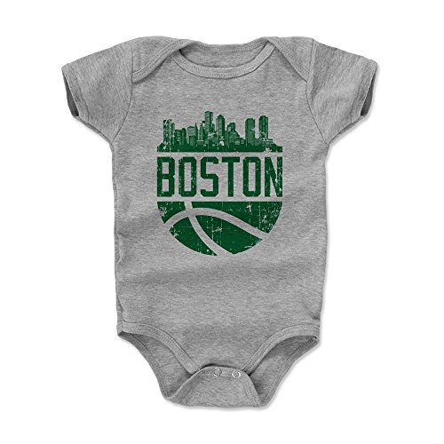 Boston Baby Clothes, Onesie, Creeper, Bodysuit (Onesie, 6-12 Months, Heather Gray) - Boston Skyline Ball