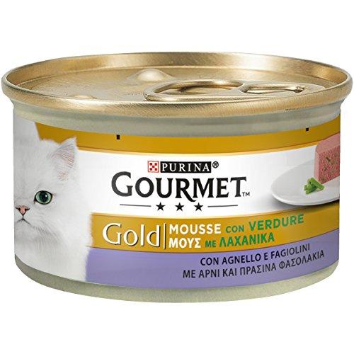 Purina Gourmet Gold Umido Gatto Mousse con Agnello e Squisiti Fagiolini, 24 Lattine da 85 g Ciascuna, Confezione da 24 x 85 g