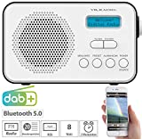 VR-Radio DAB Radio: Mobiles Akku-Digitalradio mit DAB+ & FM, Wecker, Bluetooth 5, 8 Watt (Radio mit Bluetooth)