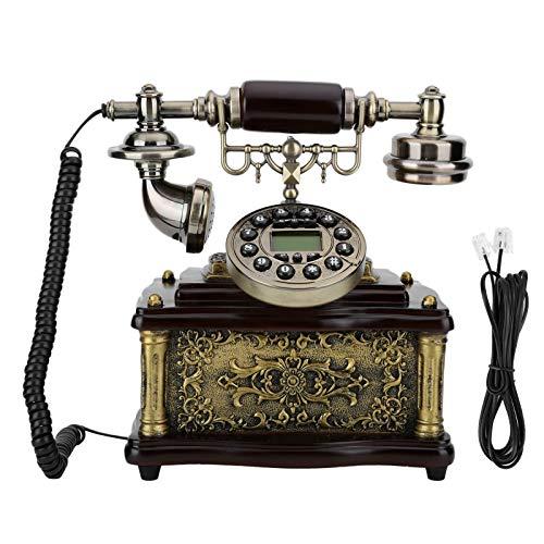 Garsentx Teléfono con Cable con Esfera giratoria Retro de Estilo Retro de Madera, teléfono Fijo Decorativo clásico clásico LF-1200D para decoración de Hotel en casa