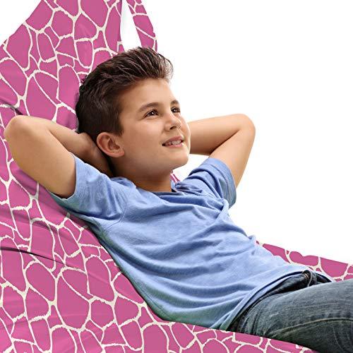 ABAKUHAUS Felroze Zitzak, Abstracte Huid van de giraf, Veel Ruimte om Zacht Speelgoed als Knuffels in op te Bergen, met Handvat, Pink White